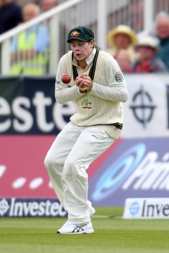 Australia's Steve Smith fails to take a catch during an Ashes Test at Durham ICG.