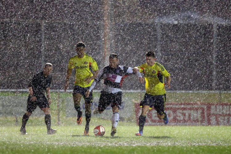 Harsh conditions during a friendly match between Darlington  and Sunderland.