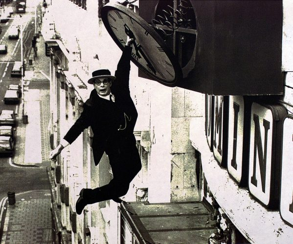 recreation of Harold Lloyd hanging from the hands of a clock back in the day when picture editors had money and ideas !