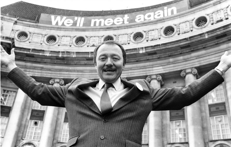 Ken Livingston April Fools day 1986 ending his leadership of the GLC last money spent on sign over his head !