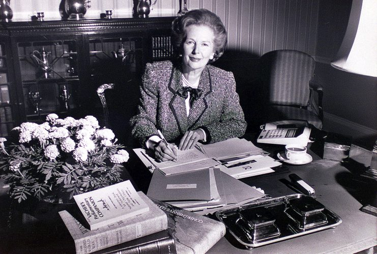 MOTHER: Mrs Thatcher PM burning the midnight oil writing her 2 election Victory speech 1983 No10