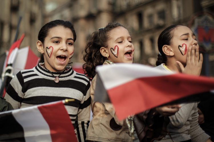 EGYPT, Cairo - Girls demonstrate in Tahrir Square.