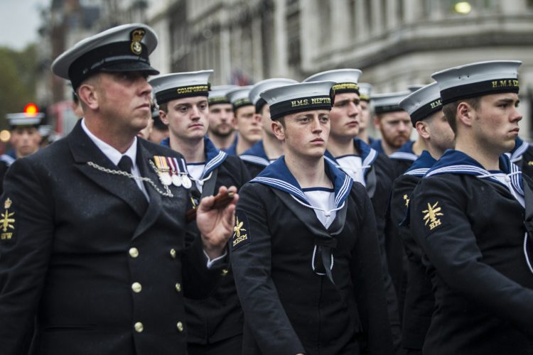 Members of the Royal Navy march into the Houses of Parliament for the first time, 2014.