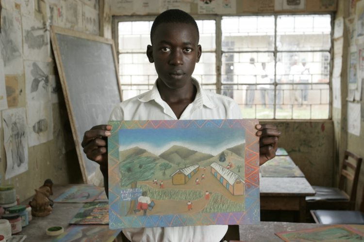 Kabalega Secondary School in Masindi, Western Uganda has been paired on the Link programmme with a school in Bristol in the UK. Art teacher Moses Ndahuru has been to the UK and learned techniques using chalks and pastels which he has brought back to Uganda and encourages his students to explore challenging subjects such as female circumcision using art.