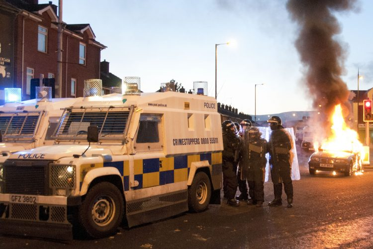 Rioting breaks out in Belfast after a Flag Protest in the city. 12/01/13
