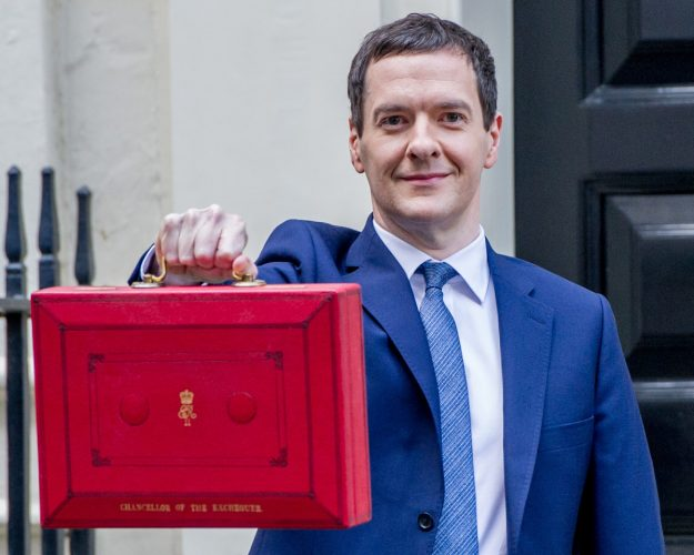 George Osborne MP presents the Red Budget Box to the media in Downing Street.