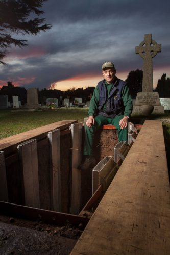 Dave Miller is a grave digger working for Bournemouth Borough Council. He has been with the service since he was sixteen and he is now forty-two years old. Photographed at Bournemouth Crematorium and North Cemetery at dusk.