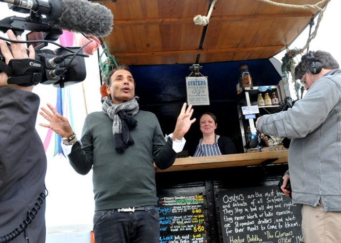 Celebrity Chef Reza Mahammad films BBC Food Awards, Westward Ho!