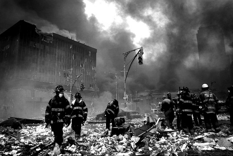 The immediate aftermath of the collapse of the North Tower, September 11, 2001