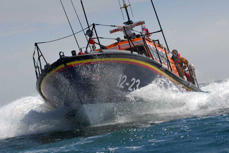 The Swanage offshore lifeboat in the English Channel.