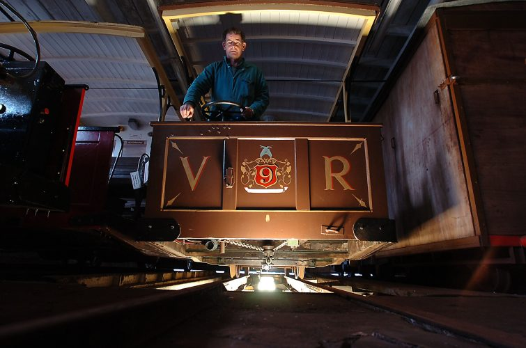 Chief engineer Barry Fuller during maintenance work for Volks railway, Brighton prior to it's 125th anniversary of the first electric railway © Terry Applin