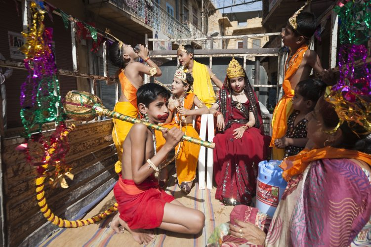 Jaisalmer, Rajasthan, Indian. 15th April 2014. Children take part in the Hanuman Jayanti festival in the narrow streets of Jaisalmer, Rajasthan.
