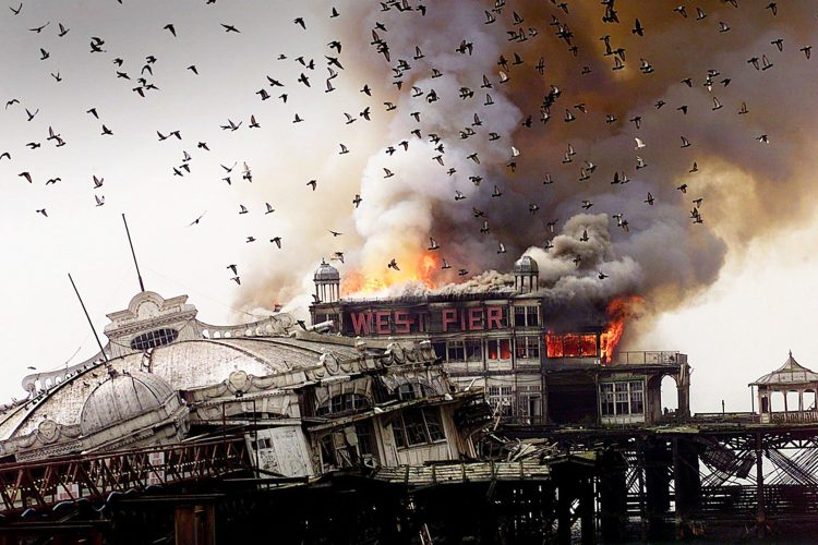 The fire on the West Pier, Brighton in 2003 which finally sealed the fate of the grand victorian structure  © Terry Applin