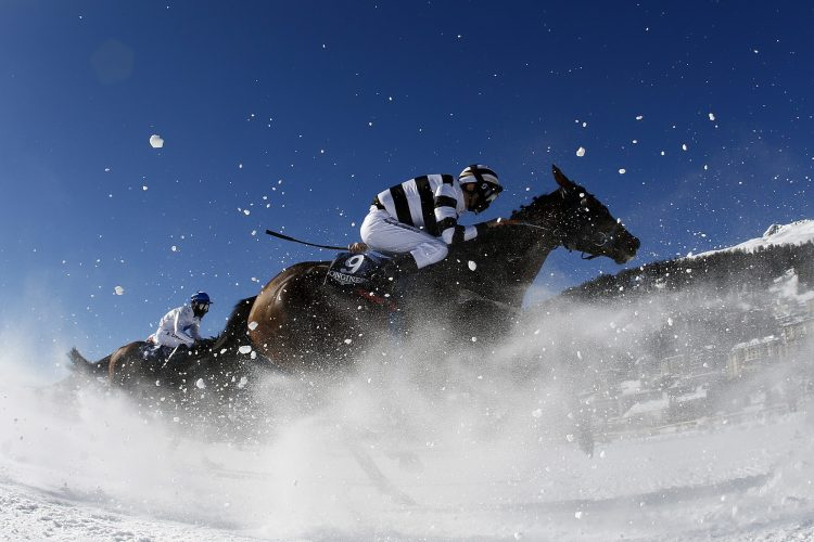 Gilbert Nicolas on horse Daisy Bere competes in the 2000 meters flat race at the White Turf horse racing event in St. Moritz on February 17, 2019. The races are held on the frozen lake of the Swiss mountain resort. AFP / Stefan Wermuth