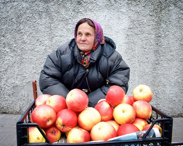 An apple-seller in Kiev - people and places Kiev, Ukraine