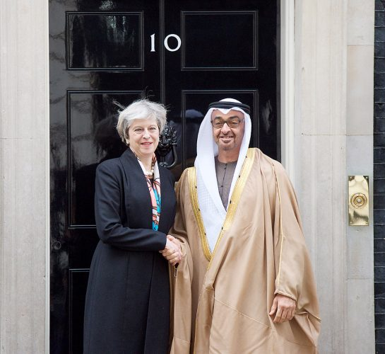 Theresa May, Prime Minister welcomes His Highness Sheikh Mohamed bin Zayed Al Nahyan, Crown Prince of Abu Dhabi to Downing Street. 10 Downing Street, London, Great Britain 23rd February 2017