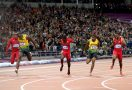 Usain Bolt wins the 100m final at London 2012.